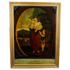 18th Century Georgian Reverse Print On Glass, Charity, Allegorical P and J Gally English 1798