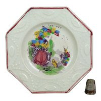 Small 19th Century Staffordshire Plate, Childs Nursery Ware The Pet, Dog Circa 1840