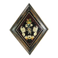 Antique 19th Century Captain George Shelvocke Tole Armorial Hatchment Plaque, Circa 1880 Naval Maritime