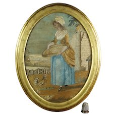 19th Century Georgian SMALL Silkwork Picture Circa 1810, USA Museum Deaccession