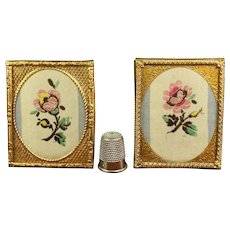 Antique 19th Century Doll House PAIR Miniature Gilt Frame, Woven Silk Flowers