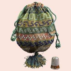 Antique Original Small Regency Knitted Purse, Beaded Bag, English Circa 1815