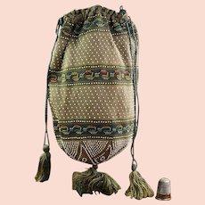 Antique Original Regency Knitted Reticule Purse, Beaded Bag, English Circa 1820
