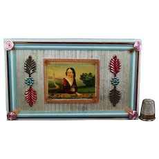 Antique Stunning Bonbonniere Nevers Glass Box, Hand Painted Dragee Jewelry Box Circa 1820