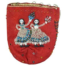 RAREST Antique French Reticule, Lucien Penet, Red Wool Flannel & Beadwork Dancers, Circa 1840s AF