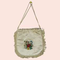 RESERVED LP, Antique Regency Reticule, English Circa 1820, Silk Satin, Floral Embroidery