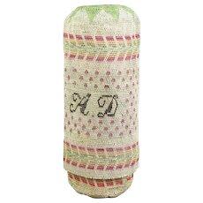 RARE Antique Georgian Etui, Silk Tapestry Woven Bodkin Case, Regency Circa 1820 Initials A D