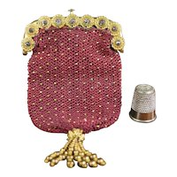 STUNNING Antique Regency Era Purse, Glorious Gilt Ormolu and Cut Steel Frame, Gilt Beaded Silk Body, Circa 1815 Georgian