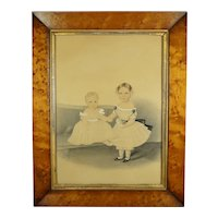 Antique 19th Century Regency Portrait of Two Sisters, Watercolor and Pencil On Card, C 1825