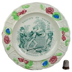 Rare Staffordshire Childs Nursery Plate Frolics of Youth, Downfall of China, Political Opium Wars Circa 1860 AF