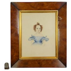 19th Century Watercolor Portrait, Girl Blue Dress, Honoria Louisa Chichester, Notable Devon Family England C 1836 (Item 12959)