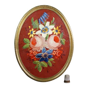 19th Century Small French Tole Painting, Floral Gilt Frame Circa 1870