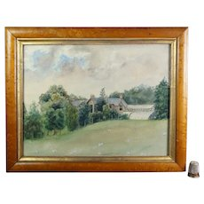 English 19th Century Watercolor, Country House Estate With Orangery Rural Circa 1890