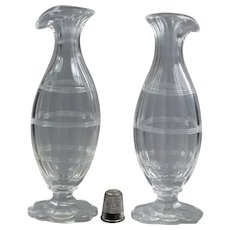 Stunning 18th Century Miniature Pair Glass Bottle Cut Glass Vase, Georgian Circa 1780
