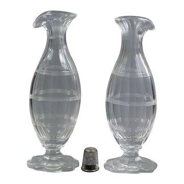 Stunning 18th Century Miniature Pair Glass Bottle Cut Glass Vase, Georgian Circa 1780
