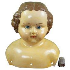 "Antique Papier-maché Doll Shoulder Head, 6"", Circa 1914, As Found"