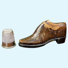 RAREST English 19th Century Apprentice Shoe, TINY Miniature Shoe and Last Made by A Cordwainer Circa 1855