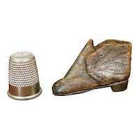 "RARE Doll Size English 19th Century Miniature Shoe,  1"" size Apprentice Made Boot, Cordwainer Circa 1840"