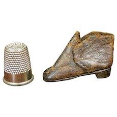 "RARE Doll Size English 19th Century Miniature Shoe,  1"" size Apprentice Made Boot, Cordwainer Circa 1840"