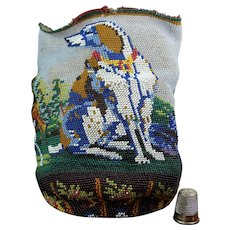 Antique 19th Century SCENIC Beaded Bag Reticule Dog, Hunter Circa 1840 AF