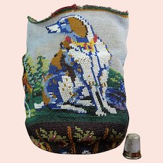 Antique 19th Century SCENIC Beaded Bag Reticule Dog, Hunter Circa 1840 AF