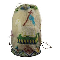 Antique 19th Century Beadwork Bag, Reticule, Drawstring Purse, Floral, Agnus Dei, Lamb of God, Veil of Veronica, Holy Face Circa 1830