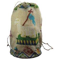 Antique 19th Century Beadwork Bag, Reticule, Drawstring Purse, Floral, Agnus Dei, Lamb of God, Veil of Veronica, Holy Face Circa 1830