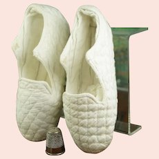 Antique 19th Century Baby Shoes, White Quilted Linen, Childrens Slippers,  Bootees, C 1850s