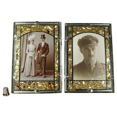 Antique French Pair 19th Century Photograph Frames, Mirror Bevelled Glass, MOP, C 1880