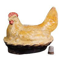 Antique French Small Hen Money Box, Rustic Folk Art Pottery, Farmhouse Kitchen Circa 1870 AF