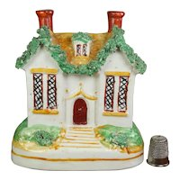 Antique Miniature 19th century Staffordshire Cottage Money Box Coin Bank Circa 1860