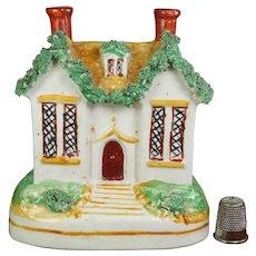 Antique Miniature 19th century Staffordshire Cottage Money Box Coin Bank Circa 1860