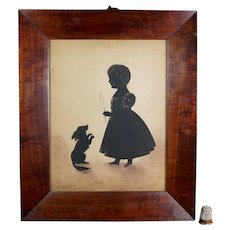 Antique 19th Century English Silhouette, Cut Paper Portrait Silhouette Girl And Pet Dog Circa 1846