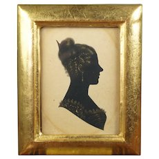 19th Century Regency Miniature Portrait Silhouette of a Lady, Later Small Rectangle Gilt Frame Circa 1815