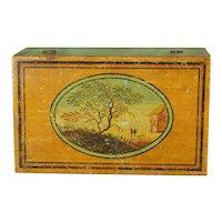Regency Miniature Tunbridgeware Box, Painted Whitewood, Gaming Counter Box Circa 1810