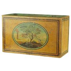 Regency Miniature Tunbridgeware Box, Painted Whitewood, Gaming Counter Box Circa 1810, Arcadian Landscape