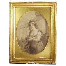 18th Century English Sepia Engraving, Georgian Era Lady, Circa 1780 AF