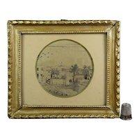 Georgian Miniature Silkwork Embroidery, Printwork, Rural Landscape, Glastonbury Tor, English Tower, Circa 1800 AF