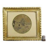 Antique Georgian Miniature Silkwork Embroidery, Printwork, Rural Landscape, Horse and Rider, English Circa 1800 AF