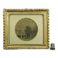 Georgian Miniature Silkwork Embroidery, Printwork, Rural Landscape, English Village Church, Circa 1800 AF