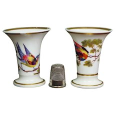 19th Century PAIR Miniature Chamberlain Worcester Porcelain Vases, Birds Regency Era Circa 1810