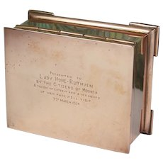 Gorgeous Art Deco Australian Copper Box inscribed Presentation to Lady Hore-Ruthven, Countess Gowrie. Moonta Mines
