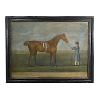 18th Century Georgian Horse Racing Engraving, Hand Colored Mezzotint by Laurie & Whittle, Original Frame C 1795 Equestrian