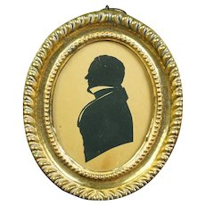 Antique Miniature Georgian Silhouette, Regency Gentleman, Original Pressed Brass Frame C 1815