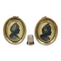 "Rare Pair 18th Century Miniature Silhouette on Silk, Twin Sisters, Circa 1793 2.5"" Tall"