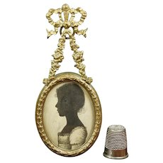 Antique French Miniature Painted Silhouette Regency Era Girl, French Garland Bow Frame