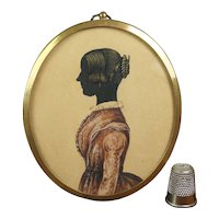Antique 19th Century Miniature Painted Silhouette, Isabella Dodd 1848, Yorkshire, England.