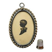 Antique Georgian Eearly 19th Century Miniature Child Silhouette, Circa 1800 Physiognotrace in Later Pretty Victorian Frame