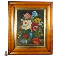 19th Century French Naïve Painting Rose Flowers, Primitive Folk Art Oil On Canvas Laid to Board