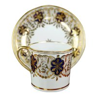 Antique Circa 1805, English Porcelain Coffee Can/Cup and Saucer, Early New Hall Pattern 214, Stunning Gilding, Georgian Period.